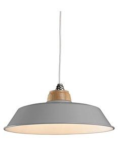 Metal Pendant Shade Complete With Wooden Top