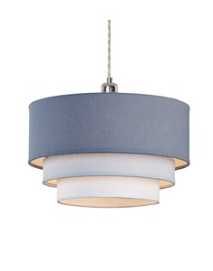 3 Tier Pendant Shade - Denim Blue, Light Blue and Ivory | Multi Tier Lampshade