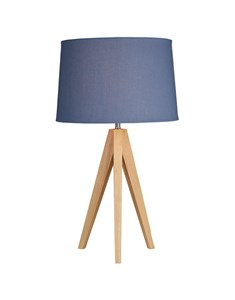Wooden Tripod Table Lamp - Denim Blue | Natural Wood Tripod Lamp