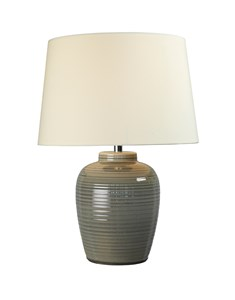 Lume Barrel Table Lamp - Warm Grey | Gloss Ceramic Table Lamp