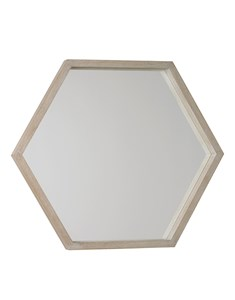 New England Hexagonal Mirror | Wooden white wash framed hexagonal mirror