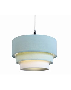 3 Tier Cylinder Pendant Shade - Duck Egg Blue, Aqua and Ivory | Multi Tier Lampshade