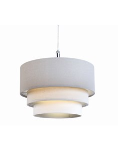 3 Tier Cylinder Pendant Shade - Steel, Grey and Ivory | Multi Tier Lampshade