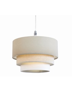 3 Tier Cylinder Pendant Shade - Taupe, Latte and Ivory | Multi Tier Lampshade