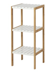 Edgeworth 3 Tier Shelving Unit - Natural | White | Bamboo and white storage unit