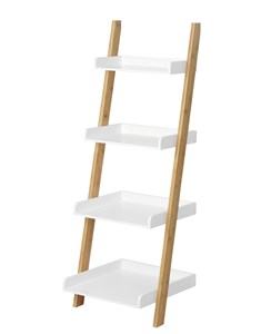 Edgeworth Ladder Shelving Unit - Natural | White | Bamboo and White Storage