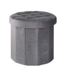Westbrook Foldable Storage Stool - Grey | Lidded Storage