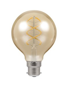 LED Globe Spiral Filament Bulb BC-B22d - Antique Bronze | Fashion Bulb