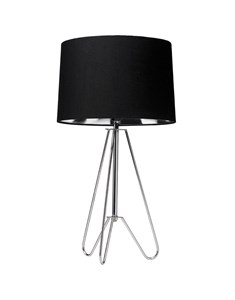 Ziggy Chrome Lamp With Black Shade | Metallic Tripod Table Lamp