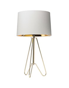 Ziggy Gold Lamp With Cream Shade | Metallic Tripod Table Lamp