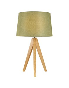 Wooden Tripod Table Lamp - Olive Green | Natural Wood Tripod Lamp