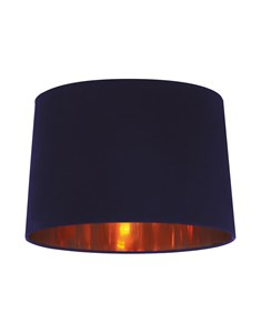 Velvet Tapered Pendant Shade - Navy | Shiny Copper