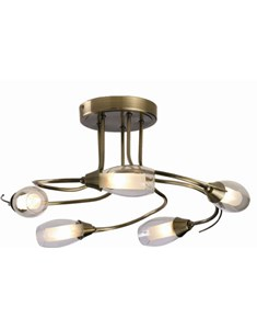 Iris 5 Light Ceiling Fitting - Antique Brass | Multi Light Fitting