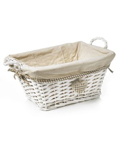 Split Wood Storage Basket | White Wicker Storage Tote