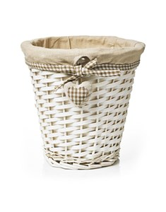 Split Wood Storage Bin | White Wicker Paper Bin