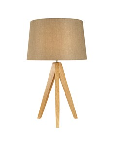 Wooden Tripod Table Lamp - Taupe | Natural Wood Tripod Lamp