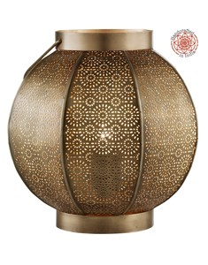 Gimili Table Lamp | Patterned Brass Lantern