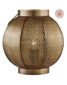 Gimili Table Lamp | Patterned Brass Lantern