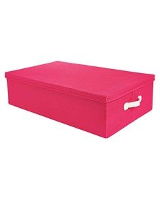 Underbed Storage Box - Pink | Fabric Lidded Flatpack Storage