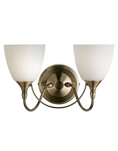 Antique Brass Wall Light With Frosted Glass Shades