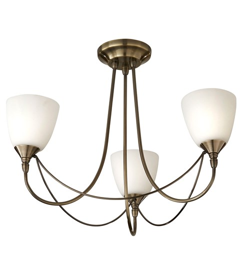 Nottingham 3 Light Ceiling Fitting - Antique Brass