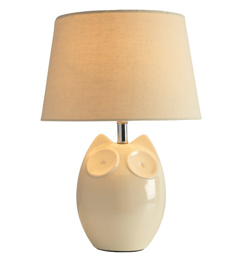 Hector Owl Table Lamp - Cream