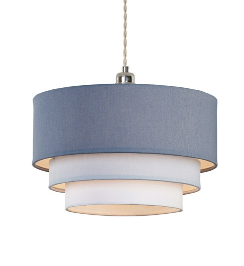 3 Tier Pendant Shade - Denim Blue, Light Blue and Ivory