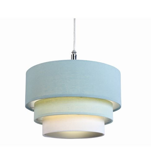 3 Tier Cylinder Pendant Shade - Duck Egg Blue, Aqua and Ivory