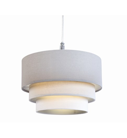 3 Tier Cylinder Pendant Shade - Steel, Grey and Ivory