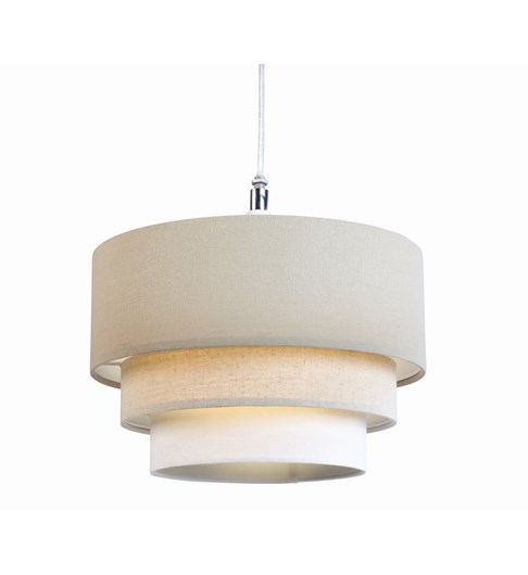 3 Tier Cylinder Pendant Shade - Taupe, Latte and Ivory