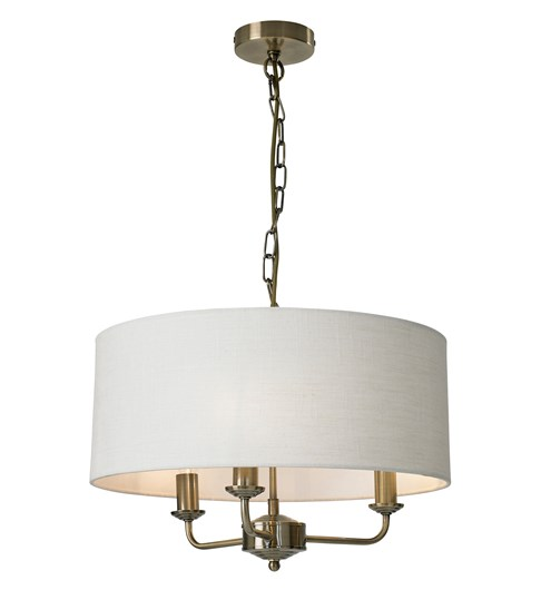 Grantham 3 Light Ceiling Fitting - Antique Brass