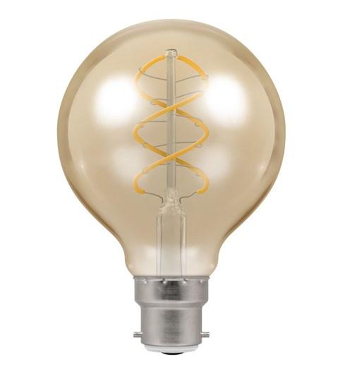LED Globe Spiral Filament Bulb BC-B22d - Antique Bronze