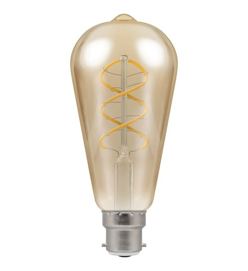 LED Spiral Filament Bulb BC-B22d - Antique Bronze