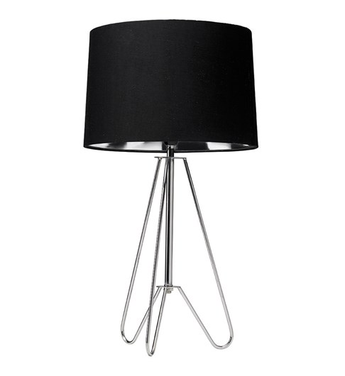Ziggy Chrome Lamp With Black Shade