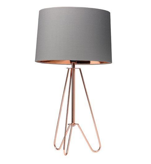 Ziggy Copper Lamp With Grey Shade