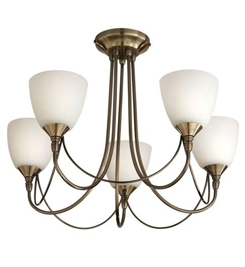 Nottingham 5 Light Ceiling Fitting - Antique Brass