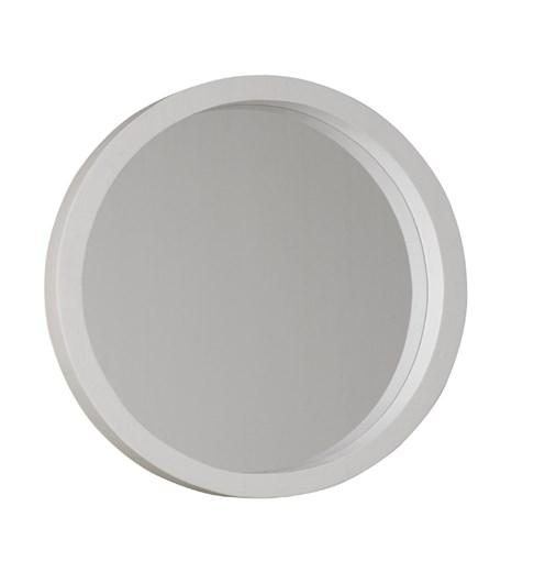 New England Round White Painted Mirror