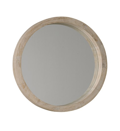 New England Round White Wash Mirror
