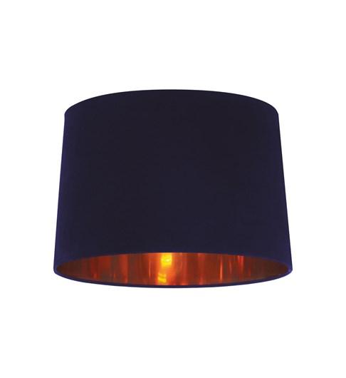 Velvet Tapered Pendant Shade - Navy | Shiny Copper