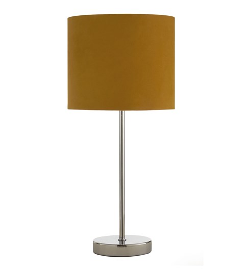 Velvet Table Lamp - Ochre | Chrome
