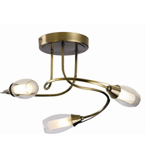Iris 3 Light Ceiling Fitting - Antique Brass