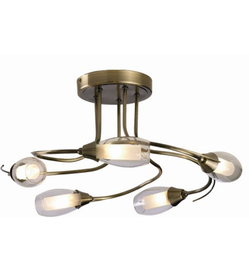 Iris 5 Light Ceiling Fitting - Antique Brass