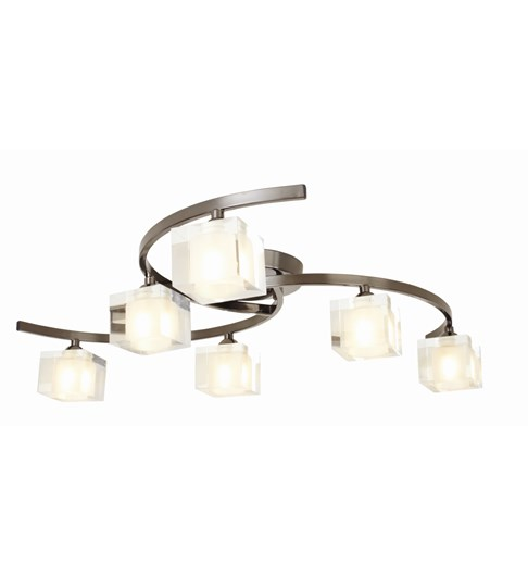 Ice 6 Light Ceiling Fitting - Pewter