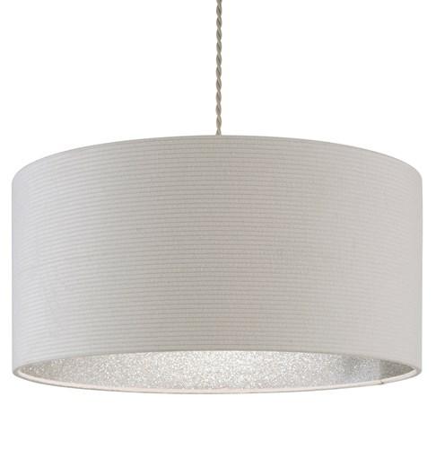 Dazzle Pendant Shade - Cream | Silver Glitter