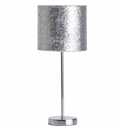 Naples Tall Stick Table Lamp - Silver Glitter