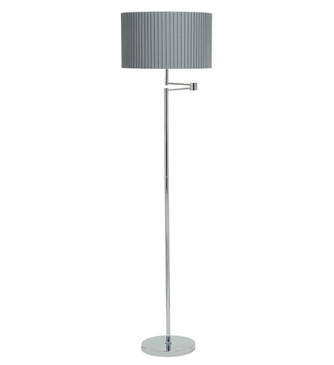 Fenella Floor Lamp Chrome Grey Swing Arm Metal Floor Lamp