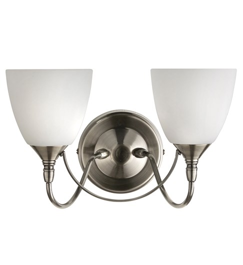 Nottingham 2 Light Wall Light - Satin Chrome