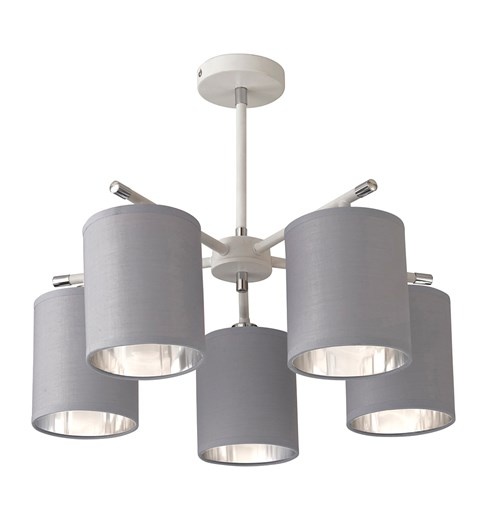 Giovanna 5 Light Ceiling Fitting - White | Chrome | Grey