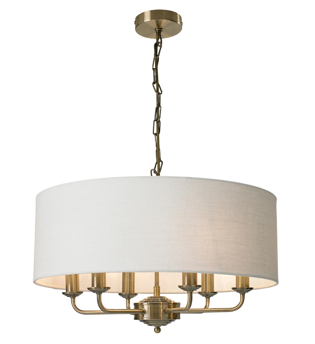 Grantham 6 Light Ceiling Fitting Antique Brass Multi Light Fitting