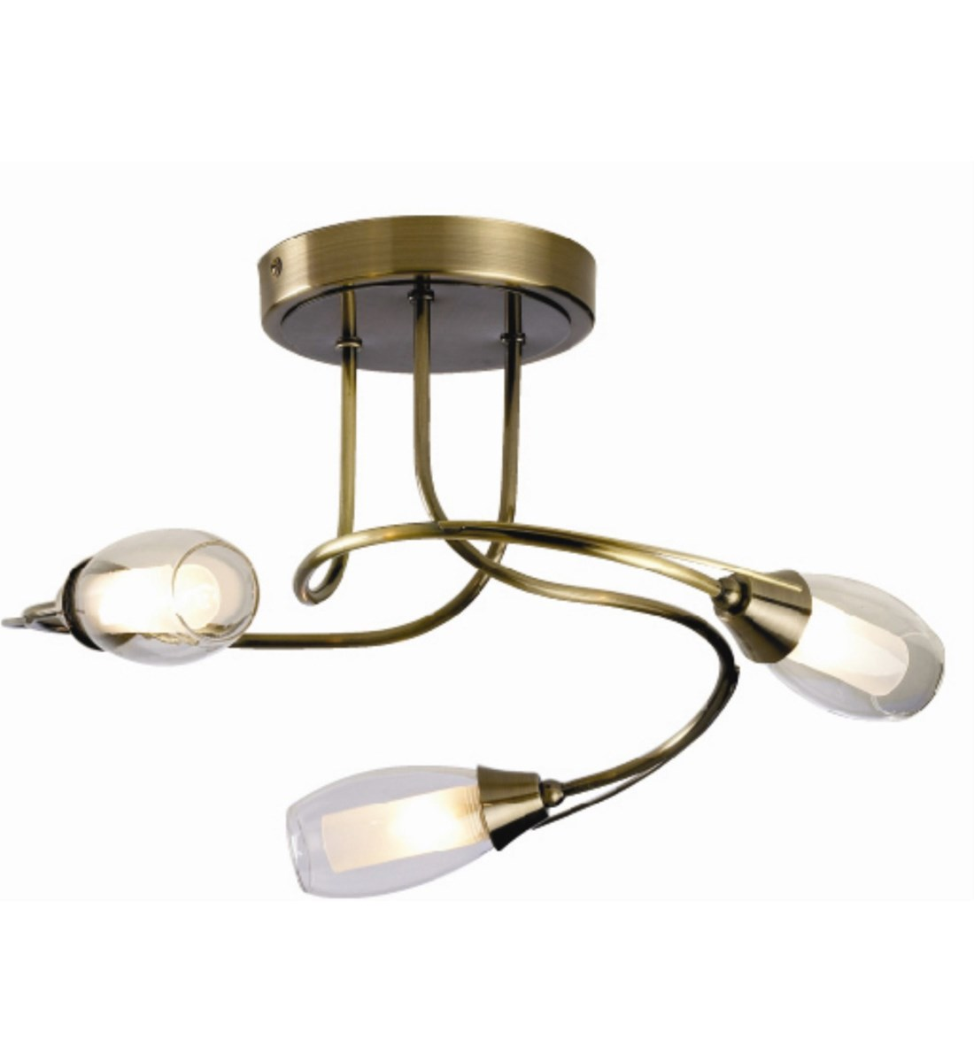 Iris 3 Light Ceiling Fitting Antique Brass Multi Light Fitting